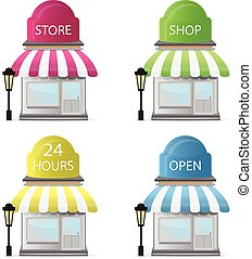 voorkant, winkel, iconen