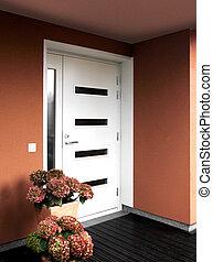 voorkant, woning, ingang, moderne, deur
