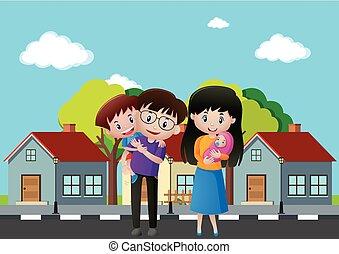 voorkant, woning, leden, gezin