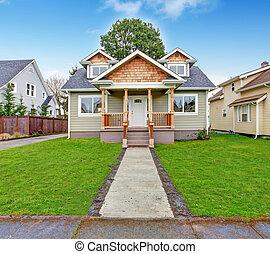 voorkant, woning, portiek, exterior., aanzicht
