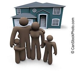 voorkant, woning, stalletjes, gezin