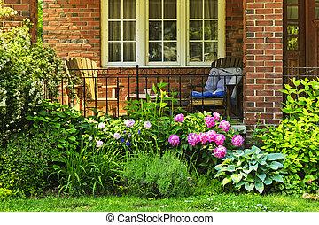 voorkant, woning, tuin