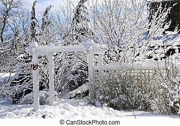 voorkant, woning, werf, winter