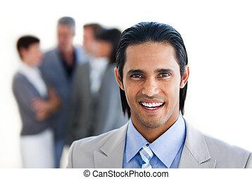 voorkant, zakenman, het charmeren, zijn, team