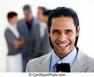 voorkant, zakenman, stralend, zijn, team