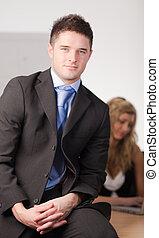 voorkant, zakenman, team