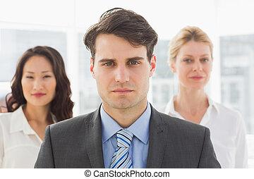 voorkant, zakenman, zijn, serieuze , team