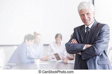 voorkant, zakenman, zijn, team