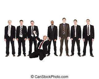 voorkant, zakenman, zijn, vrolijke , team