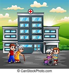 voorkant, ziekenhuis, gezin