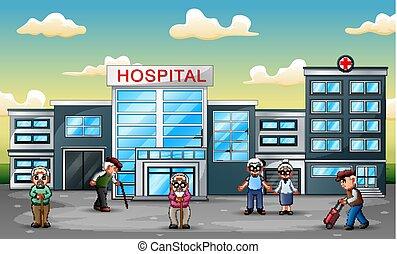voorkant, ziekenhuis, groep, oudere mensen
