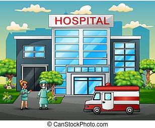 voorkant, ziekenhuis, team, artsen