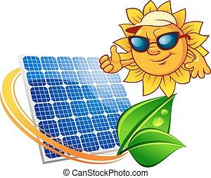 voorkant, zon, spotprent, zonnepaneel