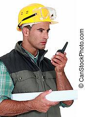 voorman, blauwdruken, walkie talkie, vasthouden