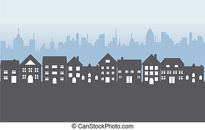 voorstedelijk, huizen, op de avond