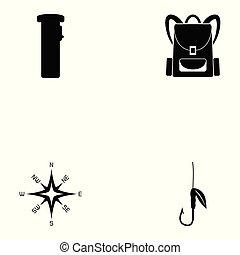 voortbestaan, set, uitrusting, pictogram