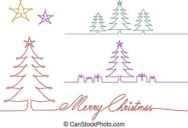voortdurend, tekening, bomen, illustratie, een, enkel, vector, lijn, kerstmis