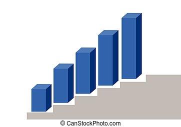 voortgang, vector, tabel, illustratie, vijf, kolommen, bar
