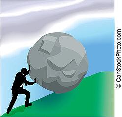 voortvarend, bolder, op heuvel, handel concept, illustratie