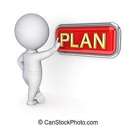 voortvarend, button., persoon, plan, kleine, 3d