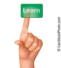 voortvarend, leren, vinger, buttont