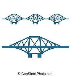 vooruit, brug, set, van, blauwe , silhouette, vrijstaand, op wit