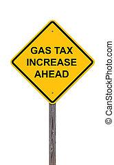 vooruit, -, gas, meldingsbord, verhogen, voorzichtigheid, belasting