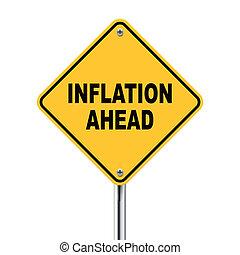vooruit, illustratie, roadsign, inflatie, gele, 3d