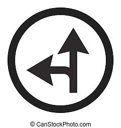 vooruit, of, links, lijn, meldingsbord, compulsory, ...