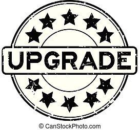 vooruitgang, grunge, postzegel, rubber, zwarte achtergrond, zeehondje, ster, witte , bewoording, ronde, pictogram
