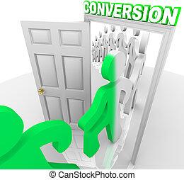vooruitzichten, mensen, klanten, deuropening, door, het omzetten