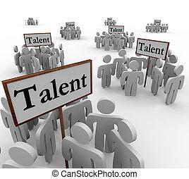 vooruitzichten, talent, mensen, werk, kandidaten, groepen, tekens & borden, sollicitanten