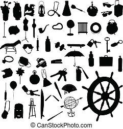 voorwerp, malen, vermalen, vector, silhouettes