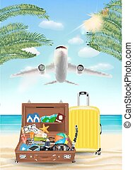 voorwerp, reizen, vliegen, luchtvliegtuig, zee, strand