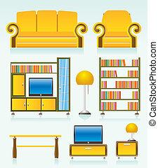 voorwerpen, kamer, levend