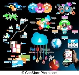 voorwerpen, kwaliteit, verzameling, mega, infographics