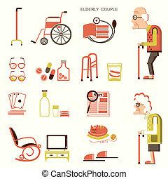 voorwerpen, mensen, bejaarden, leven
