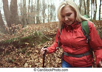 voorzichtig, wandelende, bos
