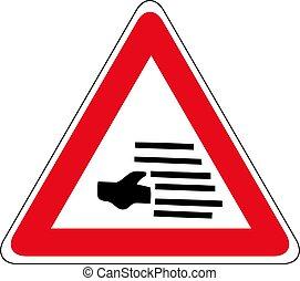 voorzichtigheid, mist, teken., illustration., waarschijnlijk, verkeer, vector