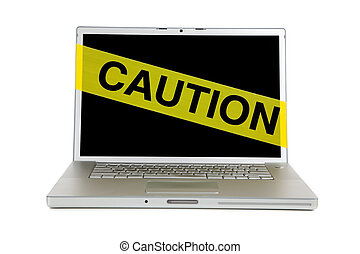 voorzichtigheid, scherm, computer, cassette, gele