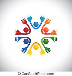 vor, darstellen, glücklich, kinder, oder, &, auch, vector., party, freudig, bunte, studenten, kinder, playschool, friends, schule, grafik, playhome, zusammen, spielende , buechse, spaß, haben