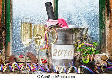 vorabend, champagner, jahres, jahr, neu , 2016