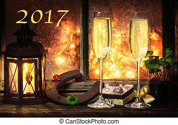 vorabend, jahres, jahr, neu , 2017, champagner, glücklich