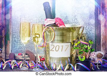 vorabend, jahres, jahr, neu , 2017, champagner