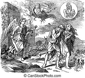 vorabend, vertreibung, paradies, zeichnung, biblisch, adam, ...