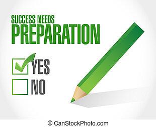 vorbereitung, bedürfnisse, begriff, erfolg, zeichen