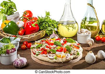 vorbereitungen, für, backen, pizza, von, frische gemüse