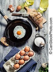vorbereitungen, für, fruehstueck, gemacht, von, eier
