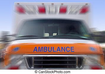 vorderansicht, von, a, beschleunigen krankenwagen, -, notfallfahrzeug