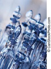 vordergrund, dof, seichter fokus, bottles., glas